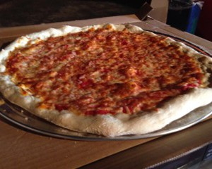 NY Style thin crust pizza in Denver CO
