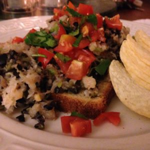 Shrimp, black olive tapenade toast